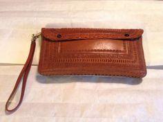 Vintage Handmade Tooled Leather Clutch / Handbag #Handmade #Clutch