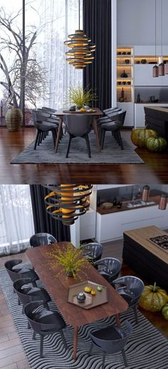 50 Best Modern Dining Room Design Ideas - Home Decorating Inspiration Table Design, Dining Room Design, Dining Room Modern, Modern Room, Chaise Noir Design, Interior Design Living Room, Living Room Decor, Interior Livingroom, Dining Lighting