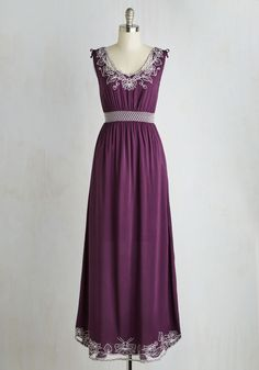 Up the Garden Path Dress in Plum. Feel as lovely as an afternoon breeze whistling through the flowers in this plum purple maxi dress! #purple #modcloth
