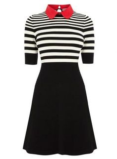 Starry Stripe Polo Knit Dress,  Dress, Dress Chic Fashion, Casual