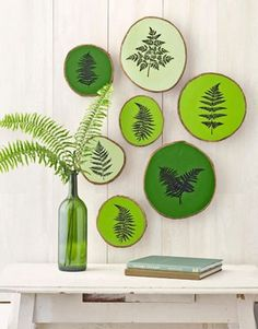 I love this grouping of pottery on the wall, very graphic.