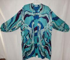 Artist Janet Lindsay Batik Design Silk Duster Textile Art to Wear One Size #JanetLindsay #Duster