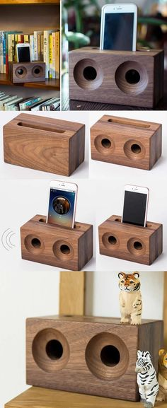 A Black Walnut Wooden  Speaker iPhone Cell Phone Sound amplifier Cell Phone Stand Holder Mount Holder Amplification Stands for iPhone 77 Plus6s6s Plus and other smartphones