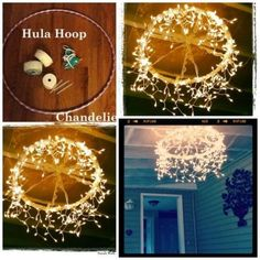 This is so cute! Outdoor Fun, Outdoor Decor, Outdoor Lighting, Lighting Ideas, Balcony Lighting, Outdoor Hanging Lights, Hula Hoop Chandelier, How To Make A Chandelier, Diy Chandelier