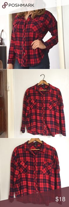 "Forever 21 soft red & blue snap-down flannel shirt - Size: L - Condition: Great condition. Used item, inspected for quality. Any wear or use is shown in photos - Color: red and blue - Pockets: yes - Lined: no - Closure: snaps down - Style: plaid/flannel - Extra notes: model is 5'7"" and size M  *Measurements:  Bust: 23.5"" flat Length: 26.5""  Bundling is fun, check out my other items! Home is smoke free & cat friendly. No trades, holds, or negotiations in comments. (5) Forever 21 Tops Button…"