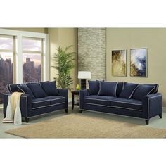Shop for Furniture of America Alton Contemporary Chenille Sofa & Loveseat Set. Get free delivery On EVERYTHING* Overstock - Your Online Furniture Shop! Cheap Furniture Online, New Furniture, Sofa Design, Blue Sofa Set, Sofa And Loveseat Set, Blue Loveseat, Navy Sofa, Bedroom Sofa, Chenille