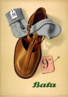"design-is-fine: ""Peter Birkhäuser, poster illustration for Bata shoes, This was the Poster of the Year award winner. Vintage Advertisements, Vintage Ads, Vintage Posters, Vintage Prints, Vintage Graphic, Retro Ads, Graphic Art, Graphic Design, Shoe Poster"