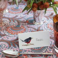 @Rachel Roy loved the hand painted bird place cards and kept hers as a memento of our lunch.