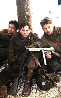 Rene Moreno, Ross McCall and Dexter Fletcher on the set of Band of Brothers