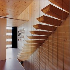 """This """"floating"""" staircase in architect Pieter Weijnen's home is actually supported by steel rods hidden within each step. Photo by: Hertha Hurnaus"""