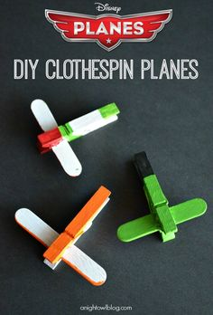 Do your kids love Disney Planes? Then they'll love these fun DIY Mini Clothespin Airplanes!
