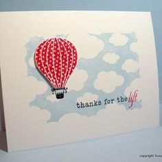 hot air ballon thank you card