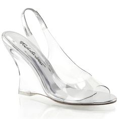 Womens 4 Inch Clear Wedge Sandals Shoes with Metallic Silver Slingback Strap >>> Click on the image for additional details.