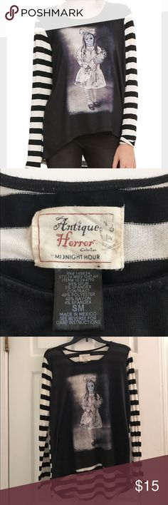 Antique Horror Sweater Worn once, good condition. Slight high low. Graphic Front striped top. Hot Topic Sweaters Crew & Scoop Necks