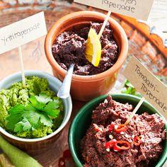 Tapenade kolmella tapaa   Maku Tapenade, Antipasto, Tapas, Pasta, Ethnic Recipes, Food, Eten, Appetizer, Noodles