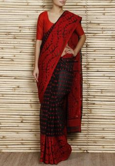 polka-dot cotton-silk Dhakai-jamdani-saree @roposolove