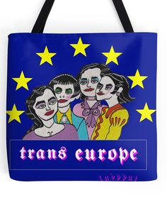 #KRAFTWERK #TRANSEUROPE #TRANS #EUROPE #ladypat #bag #tote #shopping #merch #redbubble bag available from the ladypat shop -- http://www.redbubble.com/people/ladypat/works/20621303-trans-europe?p=tote-bag