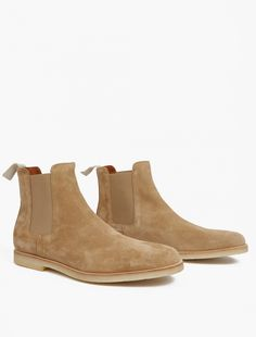 Common Projects,Tan Suede Chelsea Boots