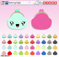 Purse Save cash and Payday Kawaii Clipart
