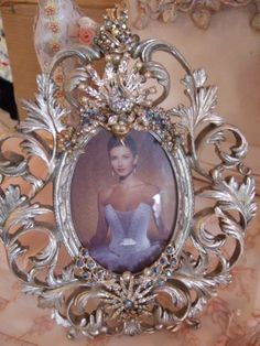 vintage jeweled and crystal picture frame