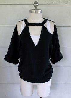 Sweatshirt Makeover, Sweatshirt Refashion, T Shirt Diy, Cut Up T Shirt, Cut Shirts, Cut Shirt Designs, Cut Clothes, Cut Sweatshirts, Hoodies