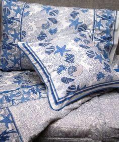 Buy this soft beautiful coastal coral starfish queen quilt in blue, green and orange. SKU-ID: OICSFQB. Coastal Bedding, Coastal Decor, Coastal Cottage, Green And Orange, Blue And White, Seashore Decor, Blue Comforter, Comforter Sets, Beach Bedroom Decor
