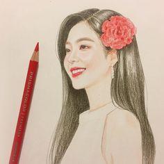 팔로워 126.5천명, 팔로잉 467명, 게시물 736개 - Hantograph(@hantograph)님의 Instagram 사진 및 동영상 보기 Kpop Drawings, Art Drawings Sketches Simple, Realistic Drawings, Cartoon Drawings, Portrait Sketches, Korean Painting, Sulli, Red Velvet Irene, Korean Art