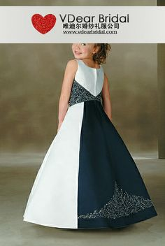A Line Scoop Spaghetti Straps Navy Blue Flower Girl Dresses ...