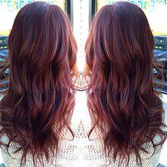 Painted mahogany hair. Red violet hair