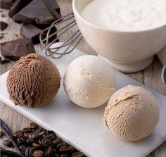 coffee, vanilla, and chocolate ice cream