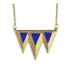 Blue Triangle Splice Gold Necklace ($12) ❤ liked on Polyvore