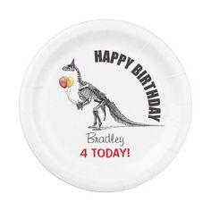 Dinosaur Sketch Balloons Birthday Paper Plate #DinosaurPaperPlates #BirthdayKidsPlates #PaperPlates #Dinosaurs