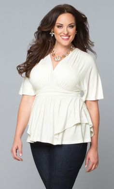 "You'll never wonder, ""what to wear"", when you have our plus size Promenade Top in your wardrobe! Perfect with jeans for a dressy casual look or with a straight skirt for elegant, office style. Browse our entire collection of made in the USA clothing at www.kiyonna.com. #kiyonnaplusyou"