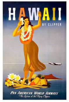Vintage Poster - Travel Hawaii Pan American World Airways - Beach - Hula Girl