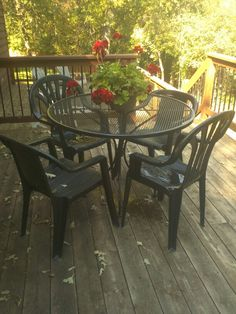 Deck Table And Chairs..i Bought Spray Paint From Walmart...took 4 Difftent White  Plastic Chairs That Were Stained And Warped...my Son And I Washed The ...