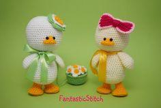 Crochet pattern easter duck amigurumi flower instant downdload