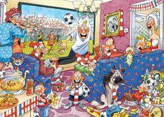 """Wasgij Original """"Fiebre de fútbol"""": 2 puzzles de 1000 piezas (lo que se ve y la solución). Concepto de rompecabezas donde usted tiene que utilizar su imaginación para reconstruir lo que un personaje de la escena impresa en la caja está mirando. ¿Qué podría haber distraído al jugador de fútbol en la televisión? Ese es el puzzle que tiene que armar."""