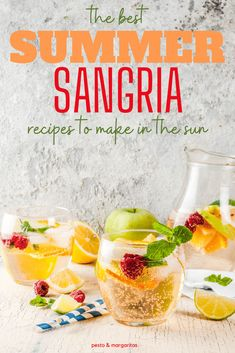 Sangria is a classic summer drink and a very adaptable cocktail recipe.  Check out these ideas and recipes on how to make the best summer sangria recipes including with white and red wine, all kinds of tasty fruit and more! #sangria #summercocktails #summerdrinks Best Wine For Sangria, Summer Sangria, Wine Cocktails, Summer Cocktails, Sangria Recipes, Cocktail Recipes, Sangria Blanca, White Wine, Margaritas