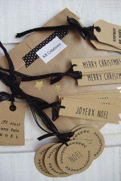 Lot de 25 étiquettes Cadeaux de Noël Kraft