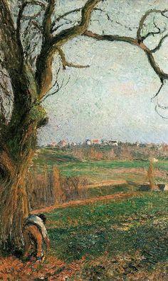 """Camille Pissarro (1830-1903) ~ """"Pontoise, Vue sur la Ville"""", 1884 (Détail) ~ Huile sur Toile Originale 59 x 73 cm ~ Collection Privée"""