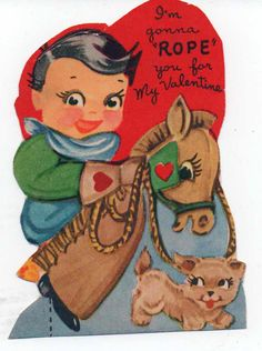 """Cute, used valentine, I'm gonna """"Rope"""" you for My Valentine, little cowboy, dated 1955, good shape by VintageNEJunk on Etsy"""
