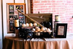 Vintage Baseball Themed Wedding Cake & Sweets Table