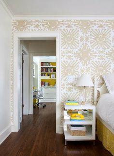 Quadrille Sigourney in taupe on white - powder bath Happy As A Clam: Quadrille Wallpaper Favorites!