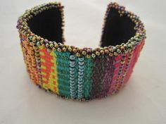 Perhaps the ultimate use of the Mirrix Loom... both beads and fiber!! Tapestry/Bead Cuff Bracelet