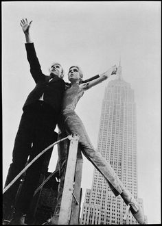 Andy and Edie Sedgwick and the Empire State Building from the roof of David McCabe's studio, NYC, spring 1965