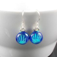 earrings blue dichroic glass dangle £10.00