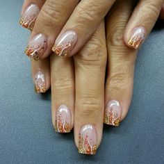 Trickles of fall Round Nails, Oval Nails, Pedicure Nails, Manicure, Winter Nails, Summer Nails, Hair And Nails, My Nails, Bronze Nails