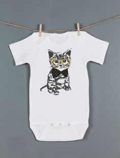 Cat Onesie Hipster Kitten Onesie Cute Cat with by Feather4Arrow, $18.00