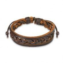 Vente Bracelet pour homme en Cuir marron tressé
