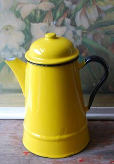 coffee pot in sunny yellow